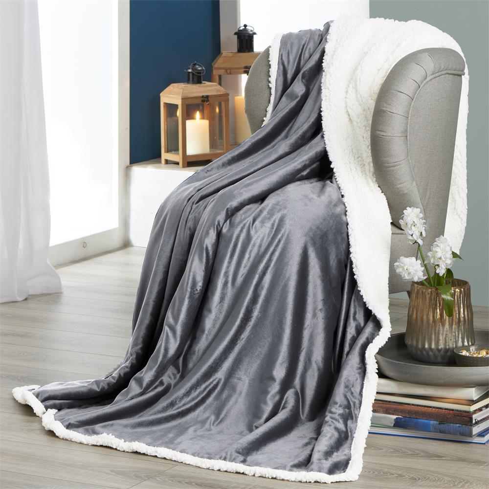 kuscheldecke wohndecke tagesdecke decke sofa lammfell uni sterne elch fantasia ebay. Black Bedroom Furniture Sets. Home Design Ideas