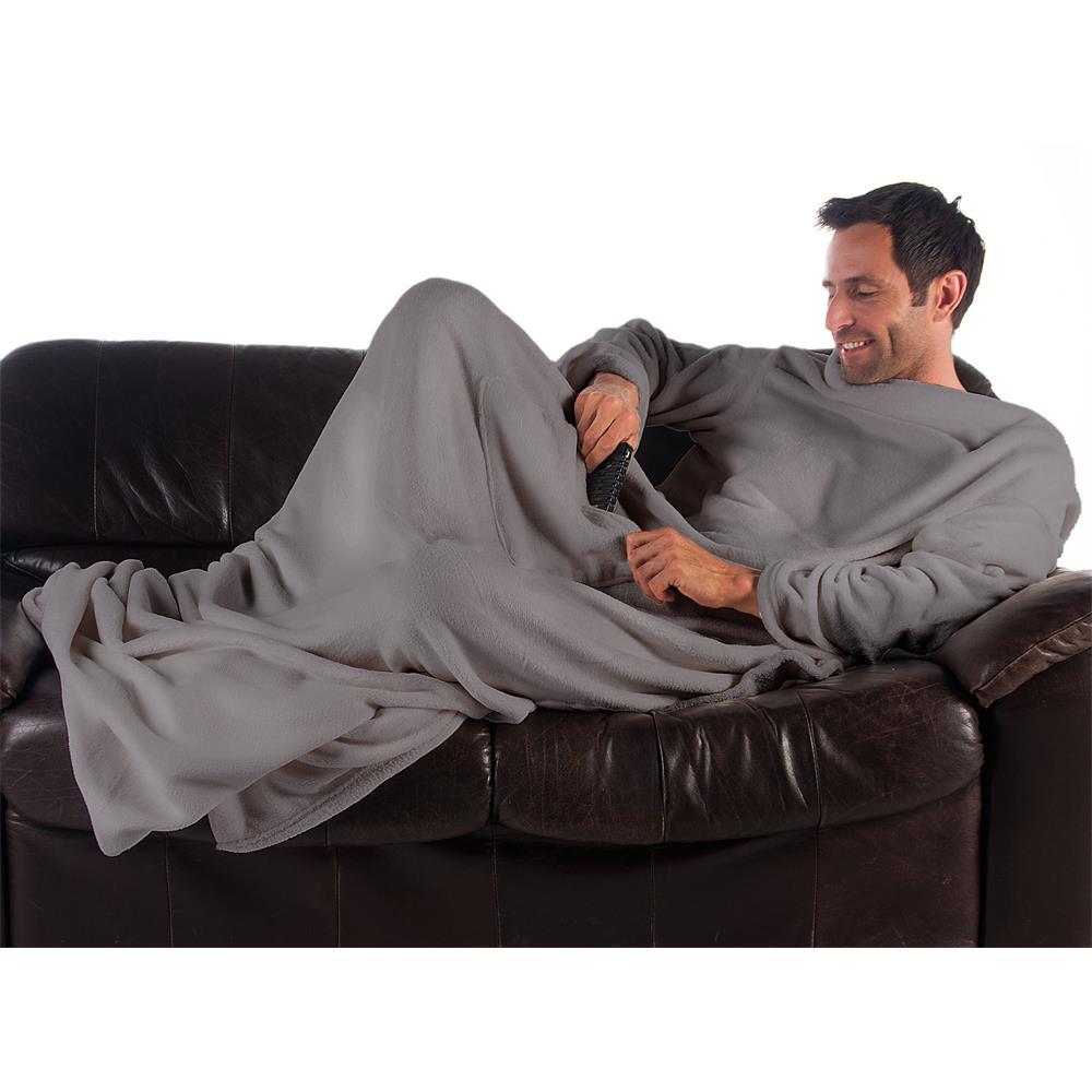 kuscheldecke mit rmel tagesdecke wohndecke sofa fu und handytasche tv decke ebay. Black Bedroom Furniture Sets. Home Design Ideas